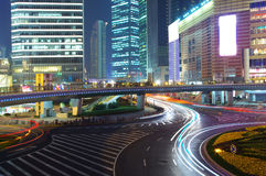 Shanghai night traffic Royalty Free Stock Image