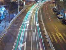 Shanghai night traffic Royalty Free Stock Photo