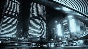 Shanghai night traffic & skyscraper,light trails of cars under overpass. Shanghai night traffic & skyscraper,light trails of cars under overpass,use Ultra-wide stock video footage
