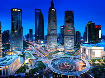 Shanghai night. View from the oriental pearl tower Royalty Free Stock Image