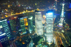 Shanghai night view overlooking the Royalty Free Stock Photo