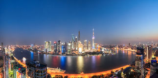 Shanghai night view panoramic Stock Photography