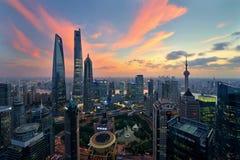 Shanghai no anoitecer Imagem de Stock