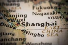 Shanghai no mapa Imagem de Stock Royalty Free