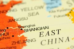 Shanghai no mapa Fotografia de Stock Royalty Free