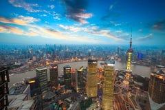 Shanghai no por do sol fotografia de stock