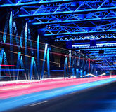 Shanghai old garden bridge car light trails Stock Images