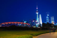 Shanghai old garden bridge of landmark architecture skyline at n Royalty Free Stock Image