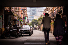 SHANGHAI Old residential street with shops houses Royalty Free Stock Photos