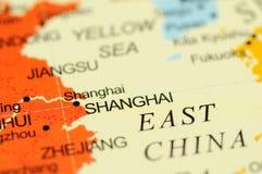 Shanghai op kaart Royalty-vrije Stock Fotografie