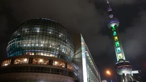 Shanghai orient pearl TV tower at night. stock video