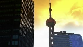 Shanghai orient pearl TV tower sunset. stock video