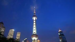 Shanghai Oriental Pearl Tower, China. Timelapse(Zoom) Stock Image