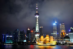 Shanghai oriental pearl tower and city in night Stock Images