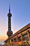 Shanghai oriental pearl tower and commercial area Royalty Free Stock Photos