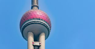 Shanghai Oriental pearl TV tower building in Shanghai Downtown skyline, China. Financial district and business centers in smart stock image