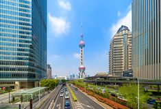 Shanghai Oriental pearl TV tower building in Shanghai Downtown skyline, China. Financial district and business centers in smart royalty free stock images