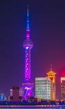 Shanghai Oriental Pearl TV tower at night Stock Image