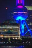 Shanghai Oriental Pearl TV tower at night Royalty Free Stock Photos