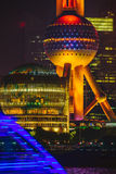 Shanghai Oriental Pearl TV tower at night Royalty Free Stock Image