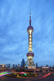 Shanghai Oriental Pearl TV Tower Night Stock Photo