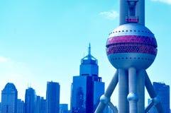 Shanghai pärlatorn Kina Fotografering för Bildbyråer