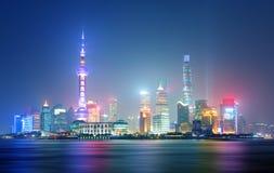 Shanghai på natten, Kina Royaltyfri Fotografi