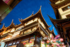 Shanghai Pagoda at night Stock Photos