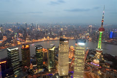 Shanghai panoramic at dusk Stock Image