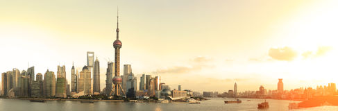 Shanghai panoramic photo skyline Royalty Free Stock Image