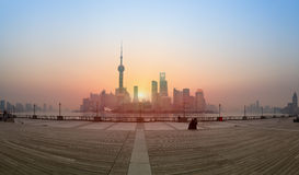 Shanghai panoramic in the sunrise Stock Photo