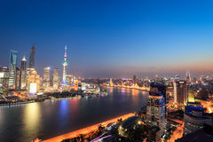 Shanghai panoramic view at night Royalty Free Stock Photos