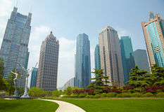 Shanghai park and  skyscrapers Royalty Free Stock Images