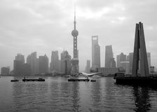 Shanghai Pearl Tower. Image of the Shanghai Financial district over the Huang Pu river in black and white Stock Photos