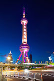 Shanghai Pearl Tower at Night Stock Photo