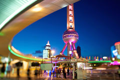 Shanghai Pearl Tower at Night Royalty Free Stock Photo