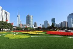 Shanghai the people`s square scenery royalty free stock image