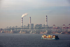 Sea Dock. ShangHai BaoShan Port moring from cruise ship stock photography