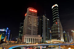 Shanghai Pu-dong business buildings in night Royalty Free Stock Image