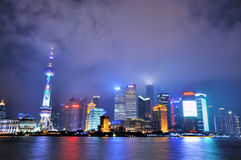 Shanghai Pu-dong night view, China Royalty Free Stock Photography