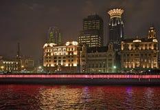 Shanghai pudong. Night view ,Shanghai riverfront bund, pudong skyline Royalty Free Stock Photo