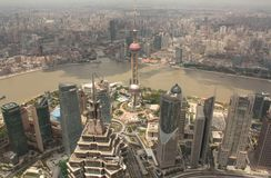 Shanghai Pudong aerial view Royalty Free Stock Image