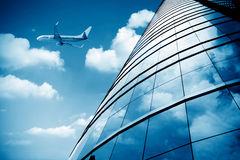 Shanghai Pudong Airport's aircraft Stock Images