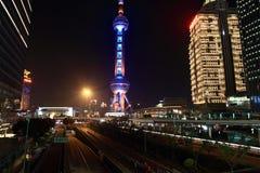 Shanghai Pudong bij nacht Stock Afbeelding