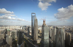 Shanghai Pudong city. Aerial view of the city of Shanghai Pudong Stock Photos