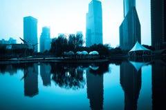Shanghai Pudong city, construction. Shanghai Pudong financial center lake scenery stock image