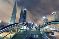 Shanghai Pudong, the city's night. The pudong district of Shanghai city modern buildings at night Royalty Free Stock Image