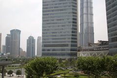 Shanghai Pudong-Finanzzentrum Stockfoto