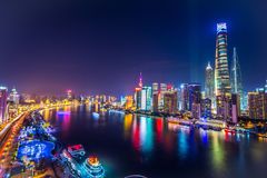 Shanghai Pudong-Horizon bij nacht, China Royalty-vrije Stock Foto's
