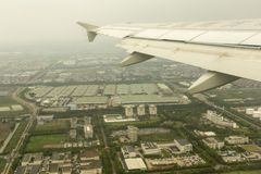 Landing in Shanghai at Pudong airport Royalty Free Stock Photography